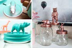 Barattoli di vetro decorati con i giocattoli in plastica #mason #jar #toys