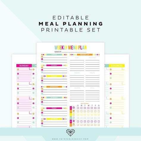 Editable Meal Plan Printable
