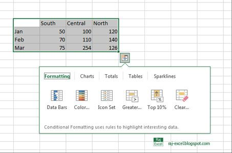Raj Excel How to enable \/ disable Quick Analysis feature Raj - Log Template Excel