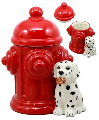 Ebros Ceramic Firehouse Dalmatian Puppy With Fire Hydrant Cookie