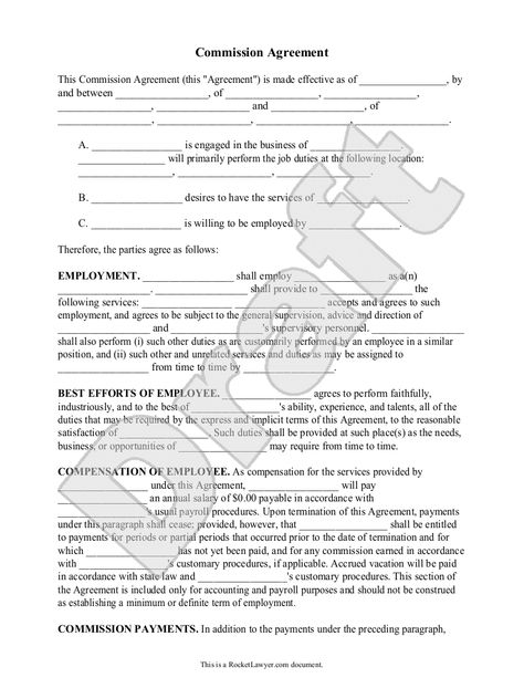Sales Commission Agreement Template Form (with Sample) Sink back - commission sales agreement