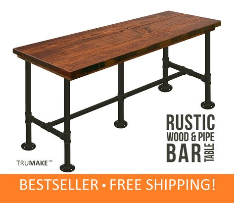 Bar Table Industrial Modern Style, Tall Pub Table Counter Height Bar Tables, Sofa Bar Table, Thick Top Rustic Wood and Pipe Bar Table Table Diy, Wood Bar Table, Pipe Table, Wood Desk, Tall Bar Tables, Coffee Tables, Barn Wood, Rustic Wood, Salvaged Wood