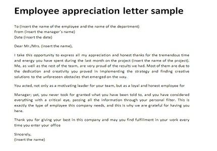 Employee Appreciation Letter All About Letter Examples