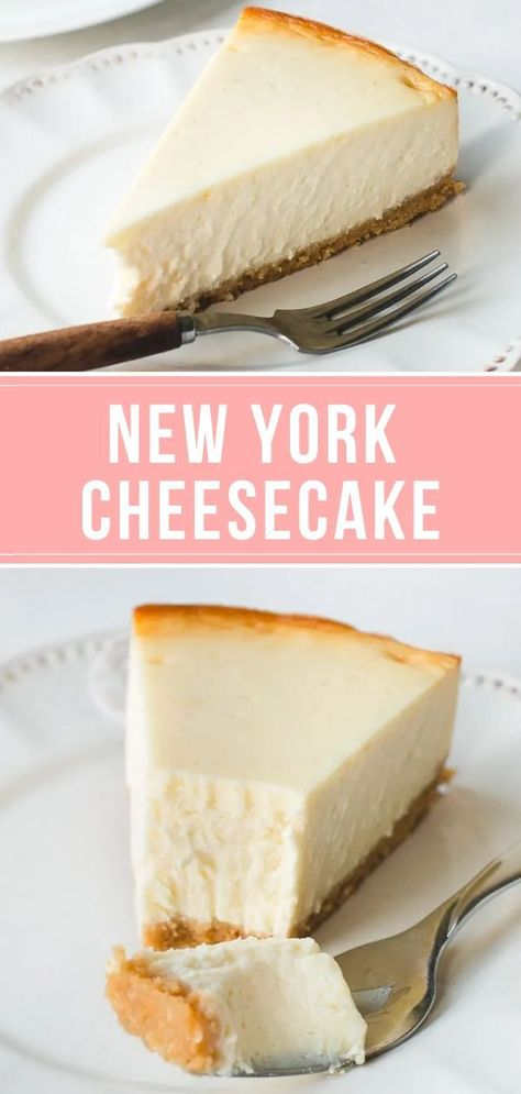 Creamiest, Most Amazing New York Cheesecake - Pretty. - This classic New York cheesecake recipe yields a rich, creamy and dense cake, and doesn't require - New York Cheesecake Rezept, Best Cheesecake, Low Carb Cheesecake, Easy Cheesecake Recipes, Healthy Dessert Recipes, Easy Cake Recipes, Baking Recipes, Sweet Recipes, Healthy Baking
