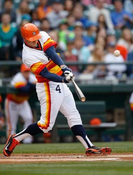 best service ebce8 a1885 George Springer in Astros throwback | Baseball - Throwback ...