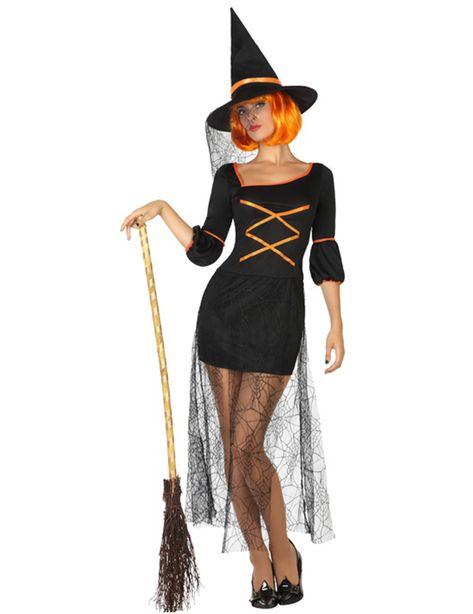 Déguisement sorcière sexy femme Halloween : Ce déguisement est composé d'une robe et d'un chapeau (balai et perruque non inclus).Plutôt courte, la robe est entièrement noire avec du ruban orange...