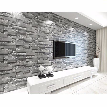 57sq Ft 393 7 X 21 3d Effect Brick Stone Vinyl Wallpaper Sticker Textured Removable Waterproof Home Decor For Shop Restaurant Living Room Supe R Large Size White Brick Wallpaper Brick Wallpaper White Paneling