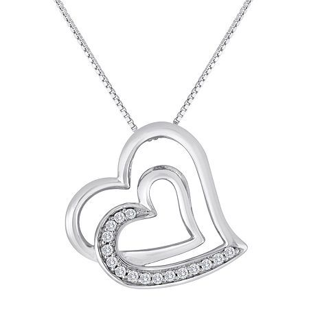 """With no beginning and no end, these intertwined double hearts reflect the power of your love. Diamonds add an intense sparkle to this pendant necklace crafted of shiny sterling silver.Metal: Rhodium-plated sterling silverStones: 1/10 ct. t.w. round diamondsSetting: ProngClosure: Spring-ringDimensions: 18"""" long box chainCare: Wipe CleanCountry of Origin: ImportedDiamond total weights may vary between .01 and .08 carat.Jewelry photos are enlarged to show detail. Disclaimer: Metal may be rhodium p…"""