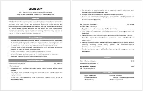 Office Coordinator Resume Resume \/ Job Pinterest - human resource coordinator resume