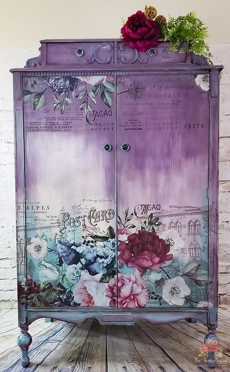 beautiful furniture transfer makeovers its time for some purple lovin check out this gorgeous piece by jon lise of the farm gypsy featured by salvaged inspirations 2 - The world's most private search engine Floral Furniture, Decoupage Furniture, Hand Painted Furniture, Funky Furniture, Refurbished Furniture, Repurposed Furniture, Shabby Chic Furniture, Furniture Projects, Rustic Furniture