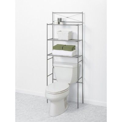 Spacesaver Over The Toilet Etagere Brushed Nickel Zenna Home Over Toilet Storage Toilet Storage Bathroom Space Saver