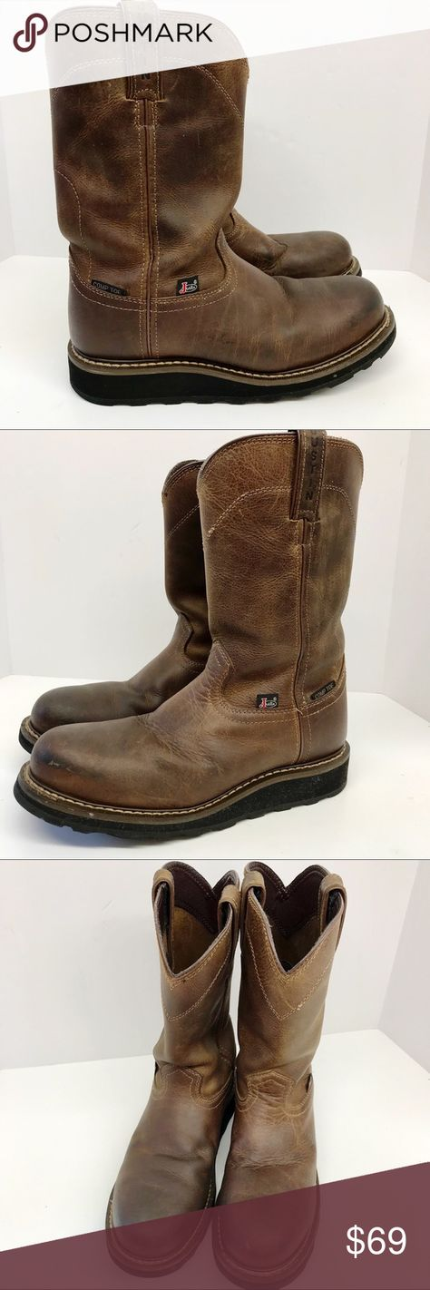 Justin Boots Mens Brown Leather Pull On Safety Toe Justin Original Work Boots Leather Safety Comp Toe Men S Size 7d Removable Ins Boots Justin Boots Leather Boots