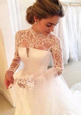A Line Lace High Neck Zipper Long Sleeves Glamorous Wedding Dress
