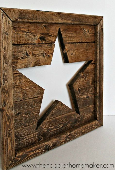 Use leftover wood scraps to make this charming Wood Star Art. This would look perfect on top of your mantle or on your gallery wall!