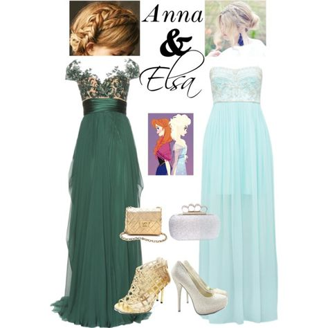Anna and Elsa Frozen Prom. I love the left dress.
