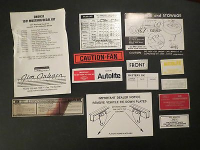 1971 Ford Mustang Or Mach 1 Decal Tag Kit Ebay In 2020 1971 Ford Mustang Ford Mustang Mach 1