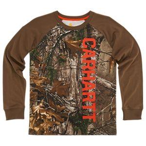 87d7294de5012 Carhartt Camo Raglan Logo Long-Sleeve T-Shirt for Boys - Realtree Xtra - XL