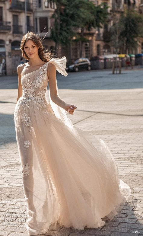 eeda4dd954e4b berta fall 2019 muse bridal one shoulder asymmetrical neckline heavily  embellished bodice tulle skirt romantic blush soft a line wedding dress  backless ...