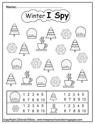 Set Of Winter I Spy Coloring Pages Game Easy Level Preschool Winter Worksheets Winter Theme Preschool Preschool Winter Math Activities Preschool coloring pages free winter