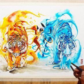 Vibrant Fantasy Watercolor Animal Paintings In 2020 Watercolor