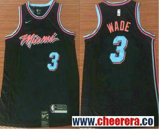 new styles 7fef7 7c5ee Men's Miami Heat #3 Dwyane Wade Black Nike NBA Swingman City ...
