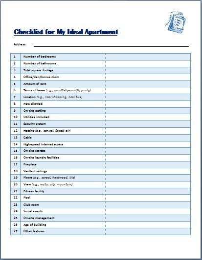 The template has all details that one may need at a time to get a - sample new apartment checklist