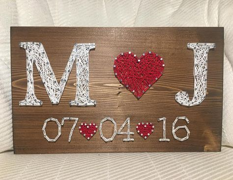 CUSTOM Wedding/Anniversary String Art Sign Date Art Wall