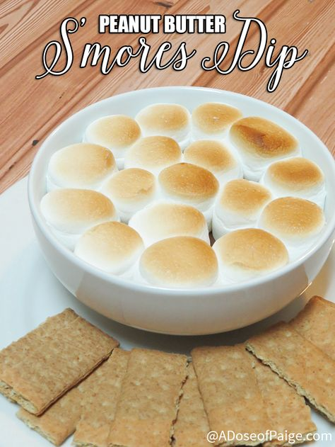 This peanut butter s'mores dip is insanely delicious! It's perfect for your holiday dessert table or a night snuggling by the fire. #PBandG #ad