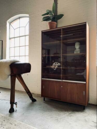 Oude Retro Schoolkast Vitrinekast Jaren 5060 Kasten