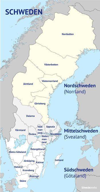 Karte Von Regionen Provinzen Und Landesteilen In Schweden