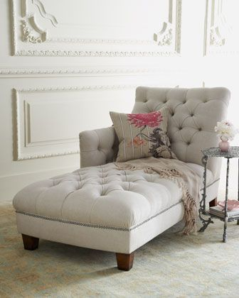 I Want This Chair Soooo Bad! One Sided Tufted Chaise Lounge Chair!  Nice Ideas