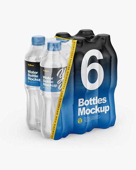 Transparent Shrink Pack With 6 Plastic Bottles Mockup Half Side View In Bottle Mockups On Yellow Images Object Mockups Bottle Mockup Mockup Free Psd Packaging Mockup