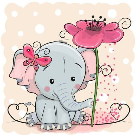 Illustration of Greeting card elephant with flower on a pink background, vector illustration. vector art, clipart and stock vectors. Image 89310782.
