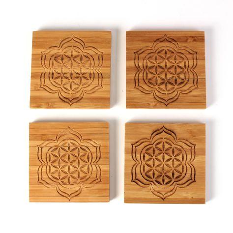 Blooming Seed - Bamboo Coaster Set - 4-