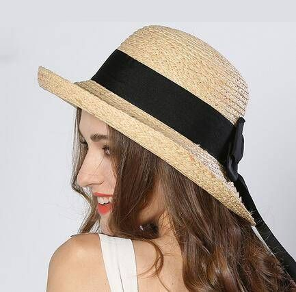 Rolled Brim Straw Hat With Bow For Women Khaki Uv Protection Sun Hats Sunhatsforwomen Straw Hat Bow Women Hats