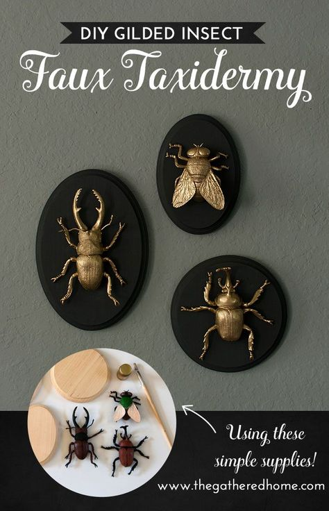 DIY Gilded Insect Faux Taxidermy These GIANT gilded insect art pieces are such a crazy, glam addi Holidays Halloween, Halloween Crafts, Diy Halloween Decorations, Living Room Halloween Decor, Halloween Bedroom, Halloween Wall Decor, Halloween Flowers, Rustic Halloween, Dollar Store Halloween