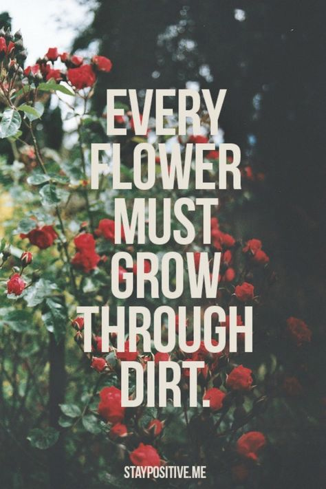"""Every one of us, all beautiful and strong, have been through tough time. I may get this quote tattooed on me; the quote being """"underground"""" under the dirt, and a flower growing tall through it."""