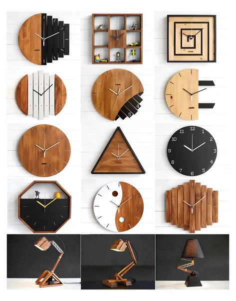 Wall Clock Wooden, Wood Clocks, Wooden Art, Clock Wall, Antique Clocks, Diy Wall Clocks, Diy Wall Art, Wooden Boxes, Wall Decor