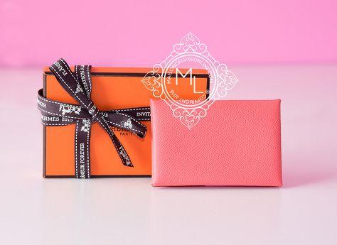 Hermes Flamingo Pink Epsom Calvi Card Case Holder - New