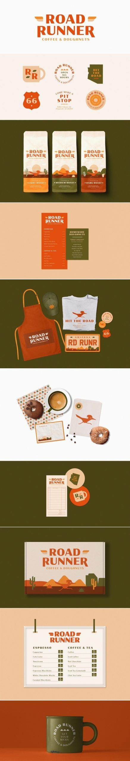 Road Runner coffee and doughnuts brand design and packaging by Hannah Wexler