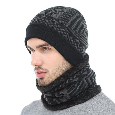 Skullies Beanies Winter Knitted Hat Beanie Scarf Men Winter Hats For ... 8050bbef0a14