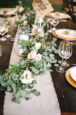 Romantic Woodland Wedding Table Settings Green Wedding