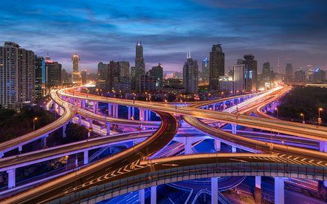 Lataa kuva Shanghai, aamulla, pilvenpiirtäjiä, metropoli, kaupungin valot, risteys, Kiina