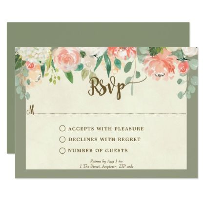 Peach Fl Wedding Bridal Shower Rsvp