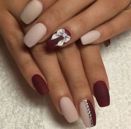 16 Ideas For Nails Acrylic Coffin Burgundy Matte Nails Maroon