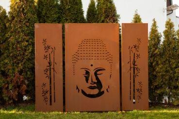 Edelrost Sichtschutzwand Buddha, 3-teilig