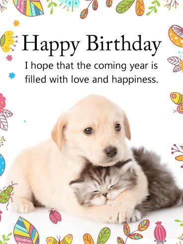Cuddling Dog Cat Happy Birthday Card