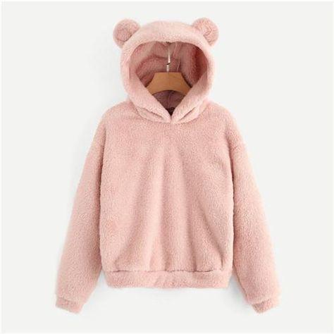 105aab6cfc81a Pink Teddy Hoodie for Women   $32.88 #purplerelic #women #WomenClothing  #NewArrivals #WinterCoat #WomenCoats. More Details