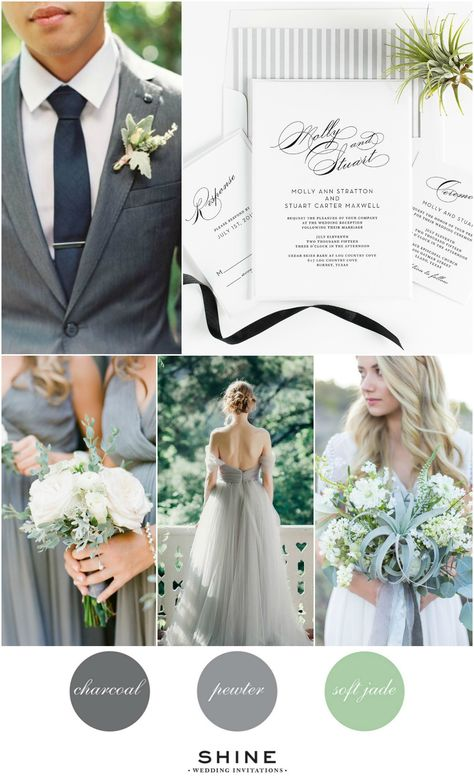 Vintage Gray and Jade Wedding Inspiration Calligraphy Wedding Invitations Airplant Wedding