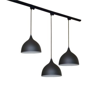 Linear 3 Light Track Light Vintage Metal Pendant Light In Dome For